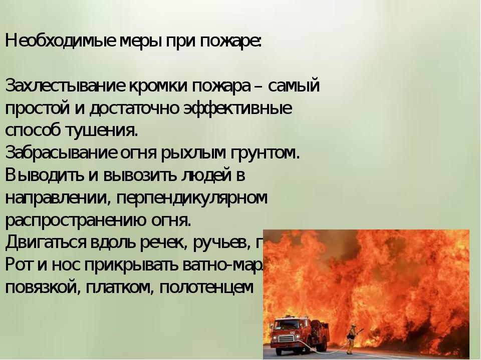Необходимые меры при пожаре: Захлестывание кромки пожара – самый простой и д...