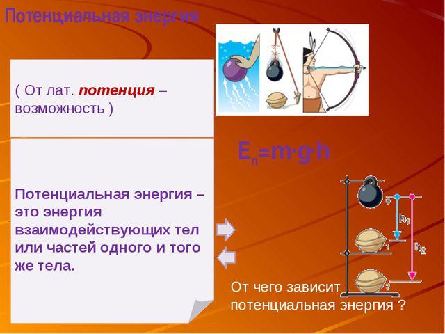 ( От лат. потенция – возможность ) Потенциальная энергия – это энергия взаимо...