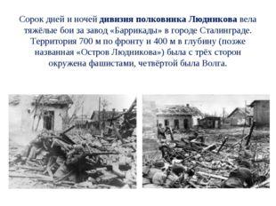 Сорок дней и ночей дивизия полковника Людникова вела тяжёлые бои за завод «Б
