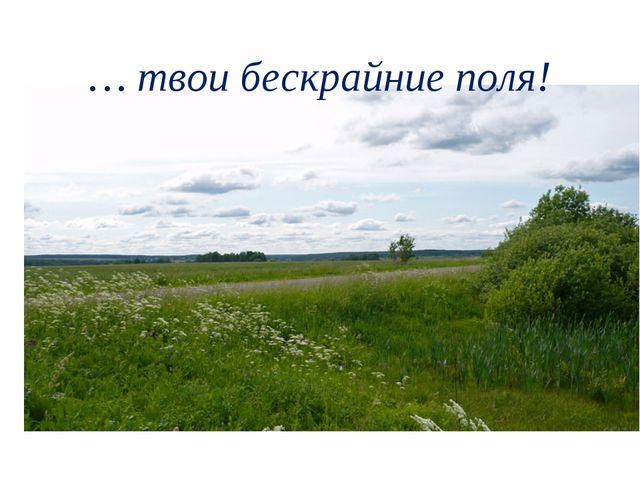 … твои бескрайние поля!