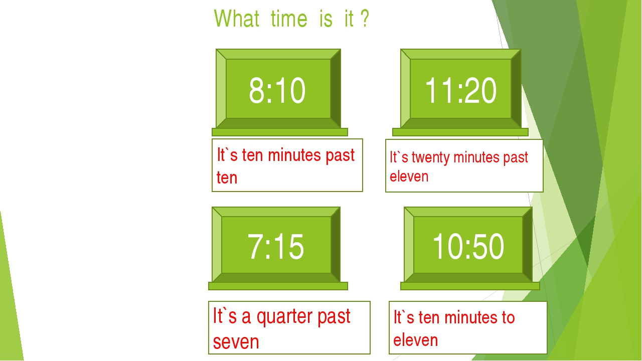 What time is it ? 8:10 11:20 It`s ten minutes past ten 7:15 It`s a quarter pa...