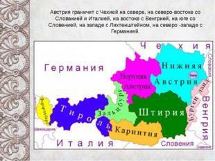 Австрия граничит с Чехией на севере, на северо-востоке со Словакией и Италие