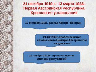 21 октября 1919 г.- 13 марта 1938г. Первая Австрийская Республика: Хронологи