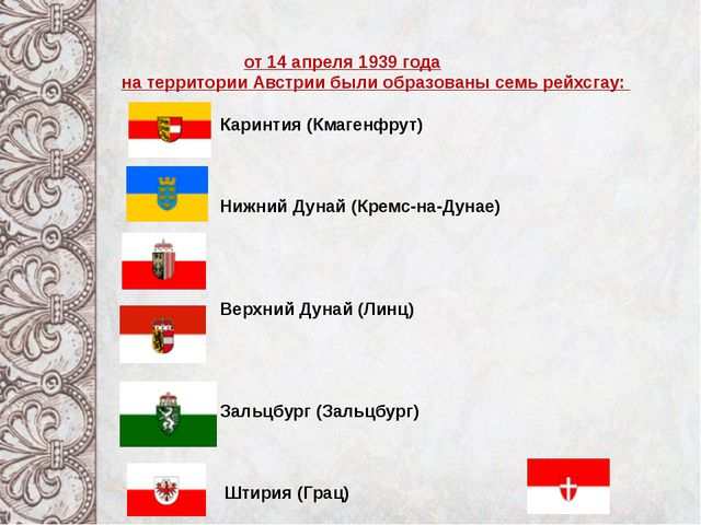 от 14 апреля 1939 года на территории Австрии были образованы семь рейхсгау:...