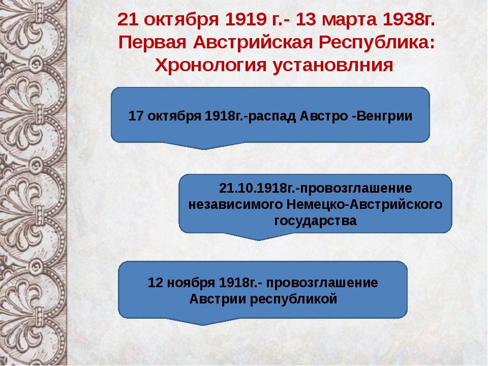 21 октября 1919 г.- 13 марта 1938г. Первая Австрийская Республика: Хронологи...