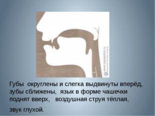Губы округлены и слегка выдвинуты вперёд, зубы сближены, язык в форме чашечк