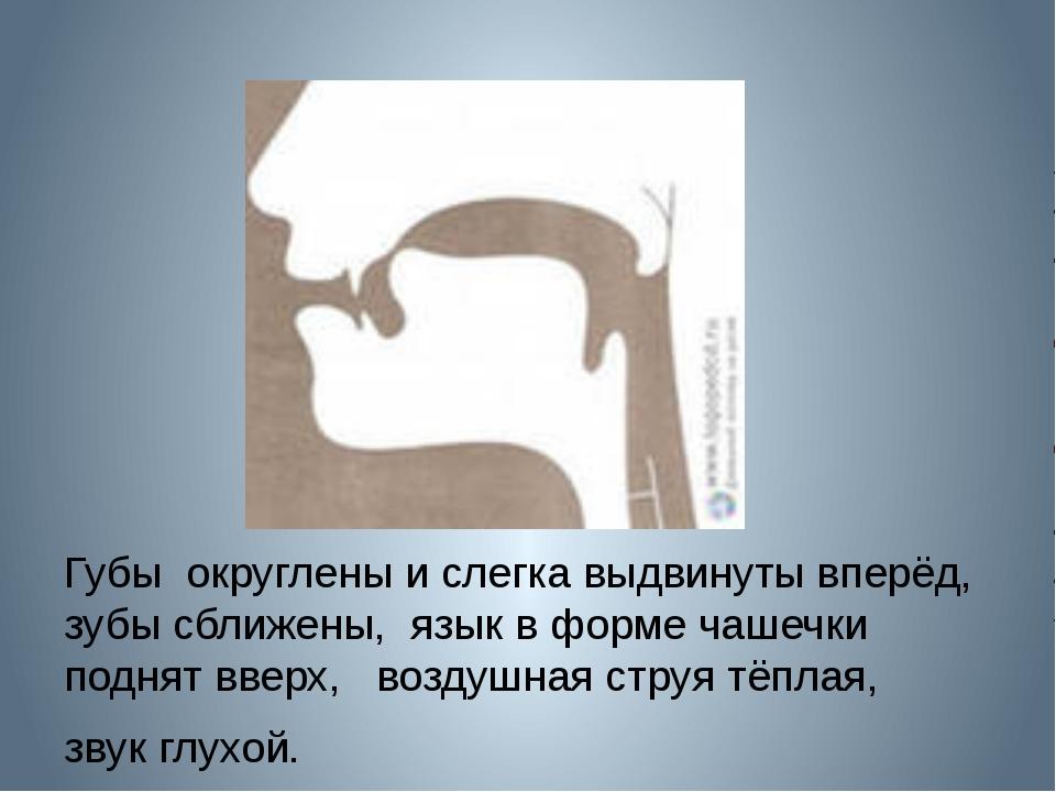 Губы округлены и слегка выдвинуты вперёд, зубы сближены, язык в форме чашечк...