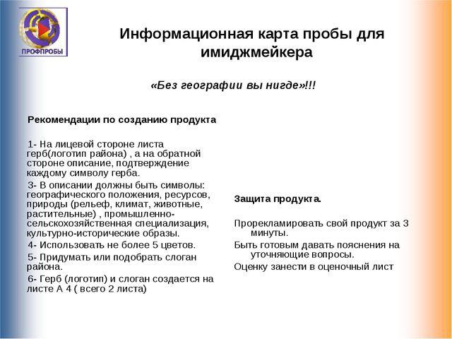 Информационная карта пробы для имиджмейкера Рекомендации по созданию продукта...
