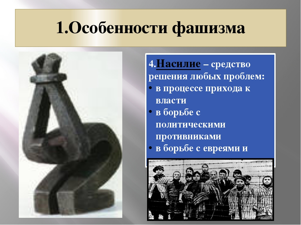 1.Особенности фашизма 4.Насилие – средство решения любых проблем: в процессе...