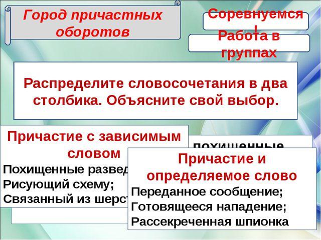 Распределите словосочетания в два столбика. Объясните свой выбор. Город прича...