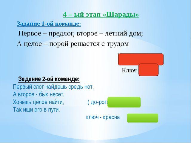 4 – ый этап «Шарады» Задание 1-ой команде: Первое – предлог, второе – летний...