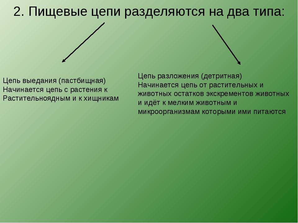 2. Пищевые цепи разделяются на два типа: Цепь выедания (пастбищная) Начинает...