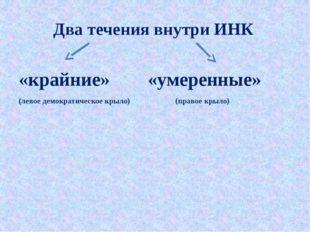 Два течения внутри ИНК «крайние» «умеренные» (левое демократическое крыло) (п