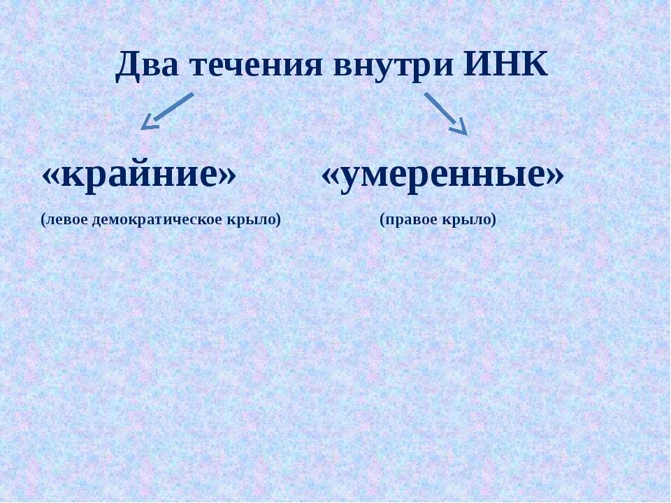 Два течения внутри ИНК «крайние» «умеренные» (левое демократическое крыло) (п...