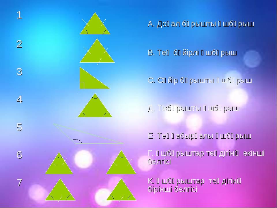 1 А. Доғал бұрышты үшбұрыш 2 В. Тең бүйірлі үшбұрыш 3 С. Сүйір бұрышты...