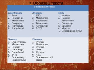Расписание уроков Понедельник Ф-ра Русскийяз. Математика География Литератур