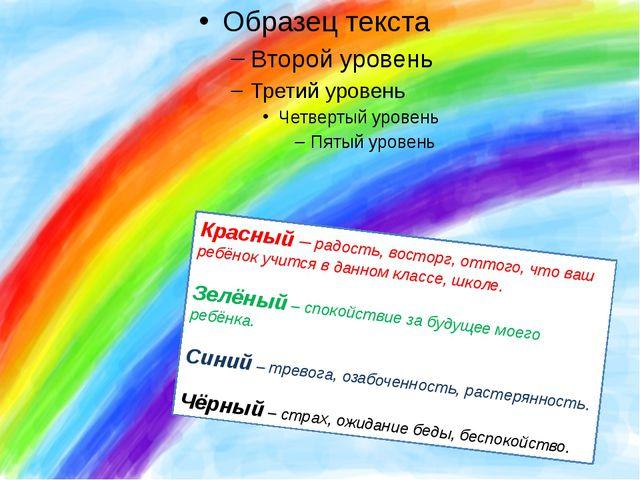 Красный– радость, восторг, оттого, что ваш ребёнок учится в данном классе,...