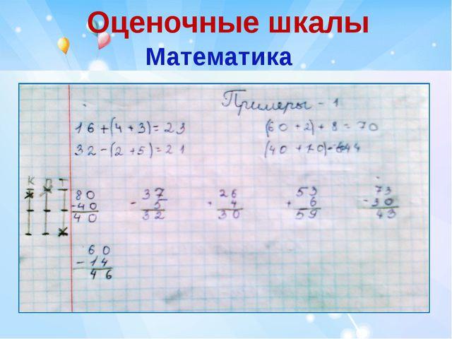 Оценочные шкалы Математика