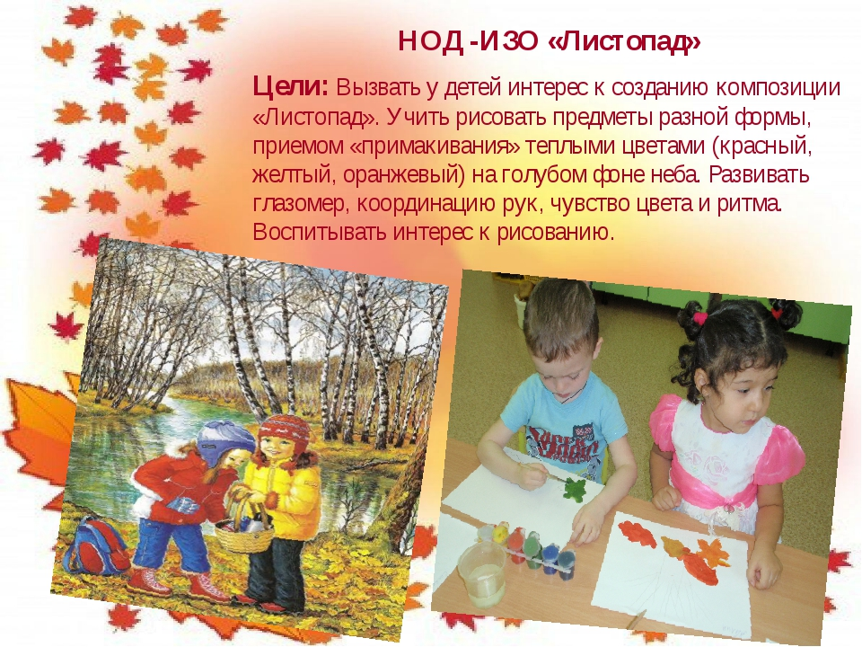 НОД -ИЗО «Листопад» Цели: Вызвать у детей интерес к созданию композиции «Лист...
