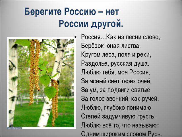 Берегите Россию – нет России другой. Россия…Как из песни слово, Берёзок юная...