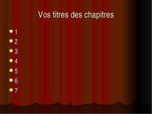 Vos titres des chapitres 1 2 3 4 5 6 7