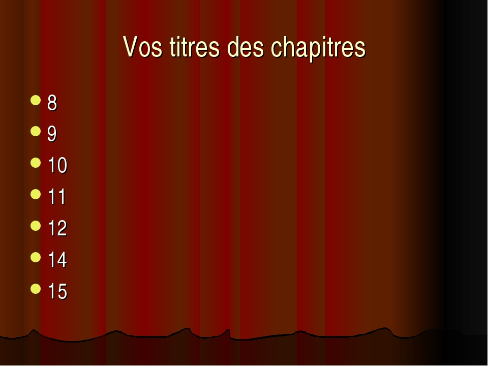 Vos titres des chapitres 8 9 10 11 12 14 15