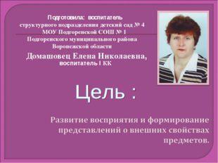 Подготовила: воспитатель структурного подразделения детский сад № 4 МОУ Подго