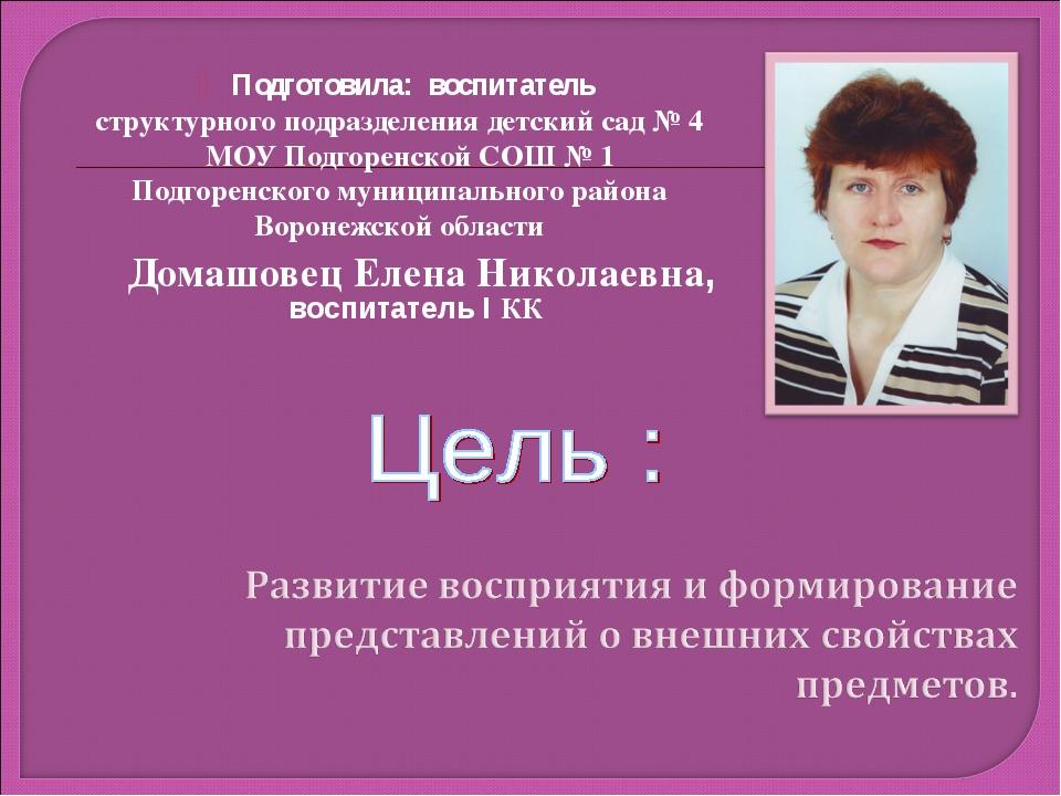 Подготовила: воспитатель структурного подразделения детский сад № 4 МОУ Подго...