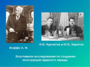 Иоффе А. Ф. И.В. Курчатов и Ю.Б. Харитон Возглавили исследования по созданию