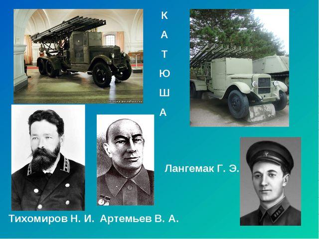 Тихомиров Н. И. Артемьев В. А. Лангемак Г. Э. К А Т Ю Ш А