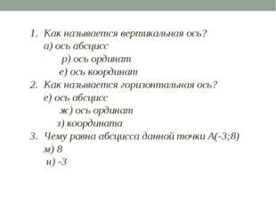 1. Как называется вертикальная ось? а) ось абсцисс р) ось ординат е) ось к