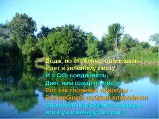 Вода, по стеблям поднимаясь, Идет к зеленому листу И с СО2 соединяясь, Дает н