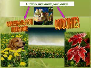 1. Типы питания растений.