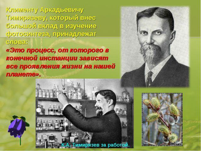 Клименту Аркадьевичу Тимирязеву, который внес большой вклад в изучение фотоси...