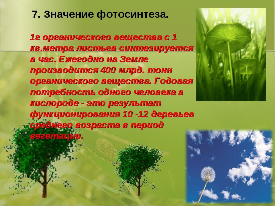 7. Значение фотосинтеза. 1г органического вещества с 1 кв.метра листьев синте...