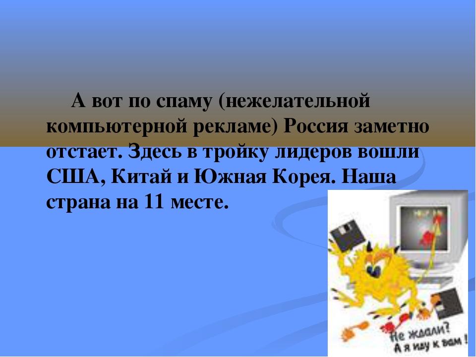 А вот по спаму (нежелательной компьютерной рекламе) Россия заметно отстает....