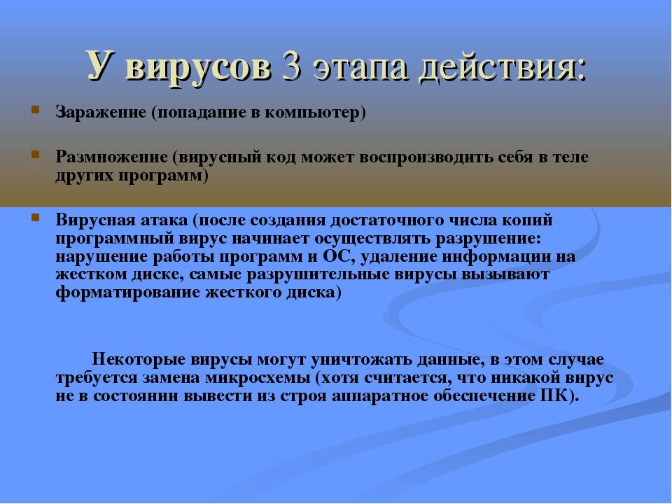 У вирусов 3 этапа действия: Заражение (попадание в компьютер) Размножение (ви...