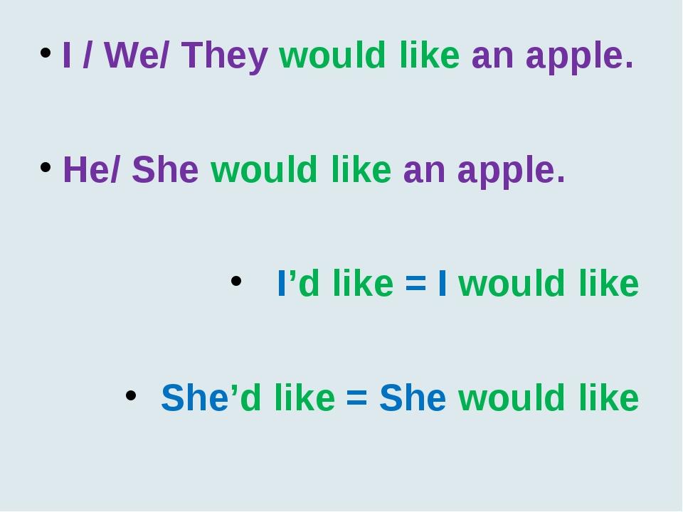 I / We/ They would like an apple. He/ She would like an apple. I'd like = I w...