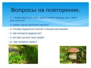 1- Представителей каких царств живой природы мы с вами уже изучили? 2- Какую