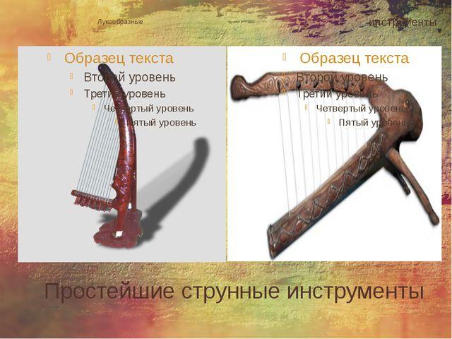 Простейшие струнные инструменты Лукообразные инструменты
