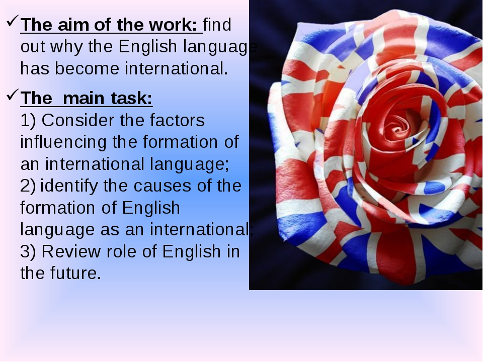 The aim of the work: find out why the English language has become internation...