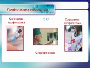 Профилактика туберкулеза 3 С Специфическая Санитарная профилактика Социальная