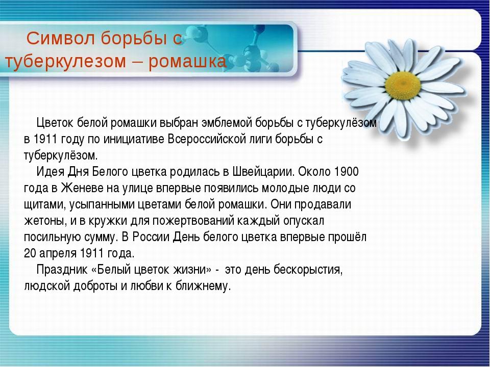 Цветок белой ромашки выбран эмблемой борьбы с туберкулёзом в 1911 году по ин...