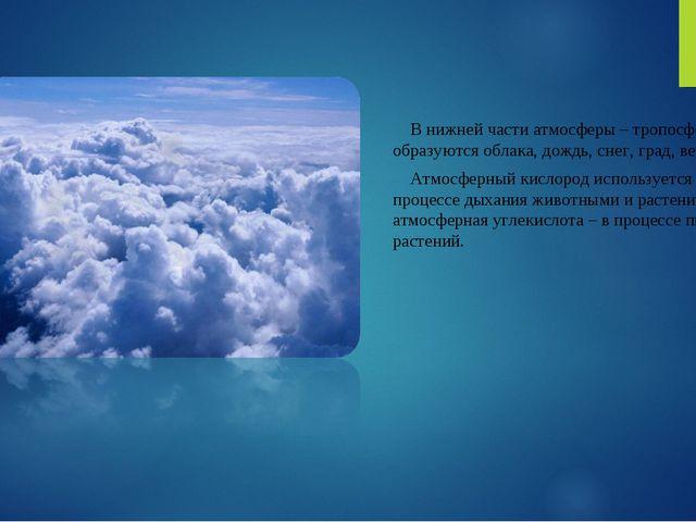В нижней части атмосферы – тропосфере, образуются облака, дождь, снег, град,...