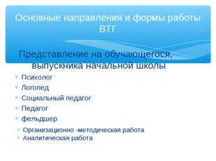 Основные направления и формы работы ВТГ Организационно -методическая работа А