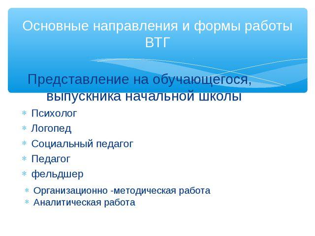 Основные направления и формы работы ВТГ Организационно -методическая работа А...