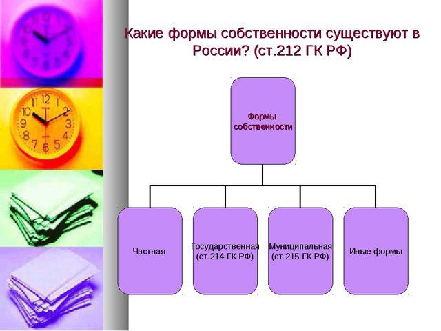 Какие формы собственности существуют в России? (ст.212 ГК РФ)