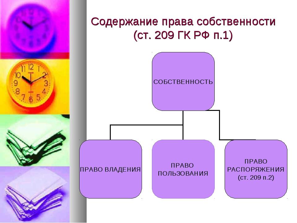 Содержание права собственности (ст. 209 ГК РФ п.1)