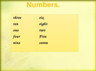 Numbers. three ten one four nine six eight two Five seven