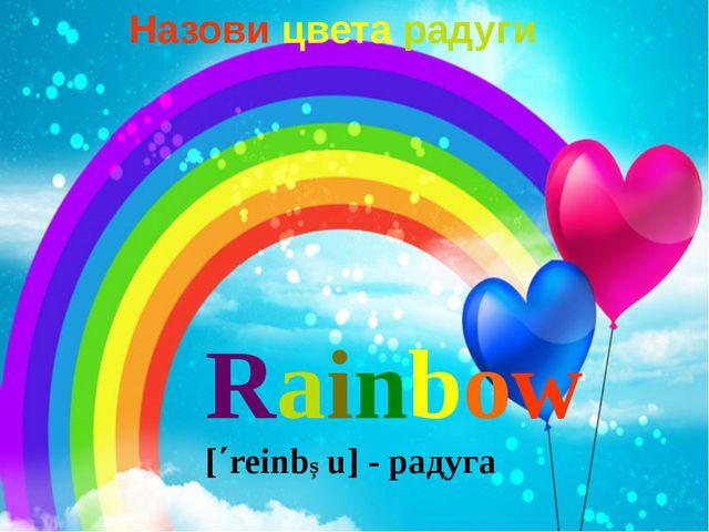 Rainbow [΄reinbƆu] - радуга Назови цвета радуги